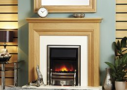 Focus Emmerdale electric suite featuring Focusflame Stainless Daisy fire