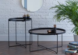 Där Anzio large and small Round Satin Black Table With Rose Gold Mirror Top