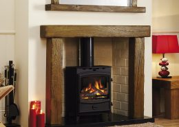 Focus Fireplaces Beamish - Aged Oak in a Medium Finish and Beamish Mirror Aged Oak in a Medium Finish