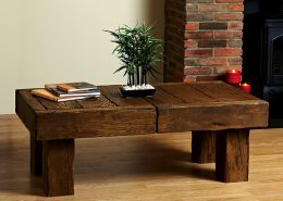 Focus Fireplaces solid beam coffee table Aged Oak in a Medium/Dark Finish (very heavy)