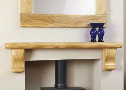 Focus Fireplaces Large Shelf with Corbels: Dressed Oak in a Natural Waxed Finish and Beam Mirror Dressed Oak in a Natural Waxed Finish