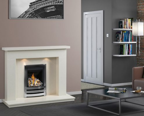 "Caterham Palma fireplace 48"" in Bianca Beige Micro-Grained Marble"