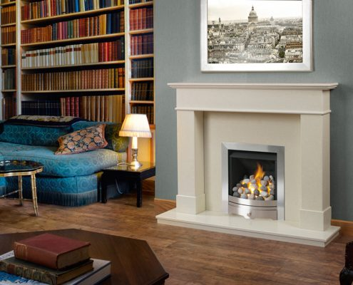 "Caterham Chepstow fireplace 54"" in Bianca Beige Micro-Grained Marble"