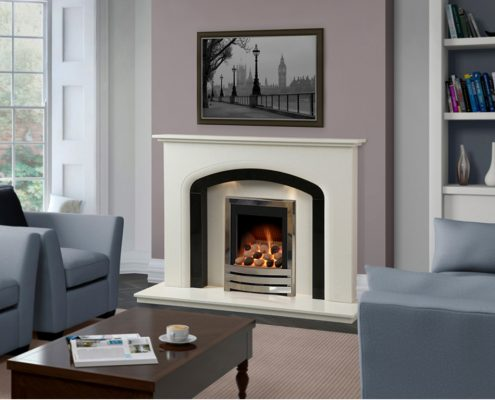 "Caterham Chepstow fireplace 54"" in Bianca Beige Micro-Grained Marble with Black Granite Slips and Inserts"