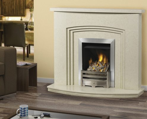 "Caterham Montreal fireplace 48"" in Verona Beige Micro-Grained Marble"