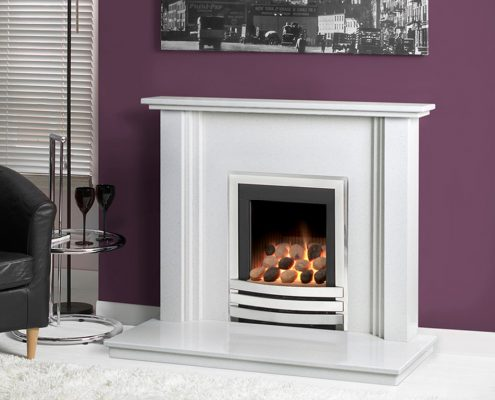 "Caterham Nevada fireplace 38"" in Carrara White Micro-Grained Marble"