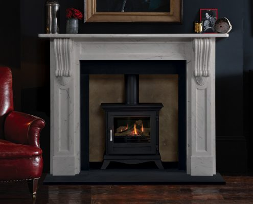 Chesneys' Buckingham fireplace in finest statuary marble statuary marble shown with Chesneys' Beaumont gas stove