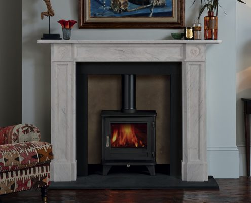 Chesneys' Langley fireplace in finest statuary marble statuary shown with Chesneys' Salisbury 5 Series wood burning stove