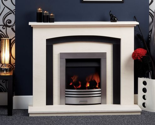 Natura Fireplaces Merano in Semi-Rijo limestone with Honed Black Granite Slips