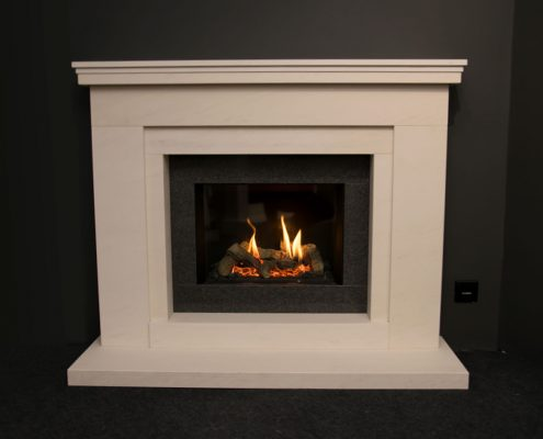 Natura Fireplaces Cayworth in Semi Rijo with Grigio Shimmer Slips