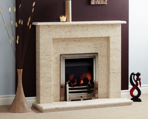 Natura Fireplaces Vegas in Mocca Creme Limestone