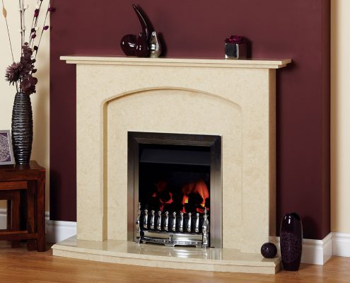 Natura Fireplaces Abbey in Nacarado Micro Marble