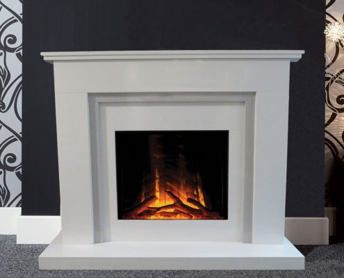 Natura Fireplaces Selina in Polare Micro Marble with Giogio Micro Marble slips Standard