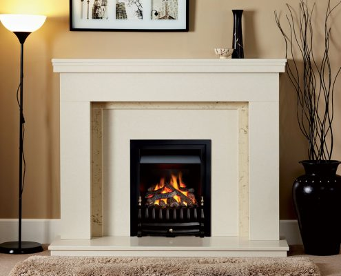 Natura Fireplaces Camridge inMoonlight Micro Marble with Corsica Slips