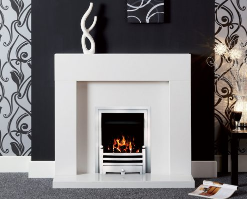 Natura Fireplaces Alex in Polare Micro Marble hearth, back panel and mantel
