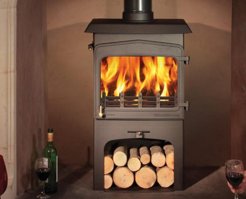 Wildwood 6kW woodburning stove with integral log store