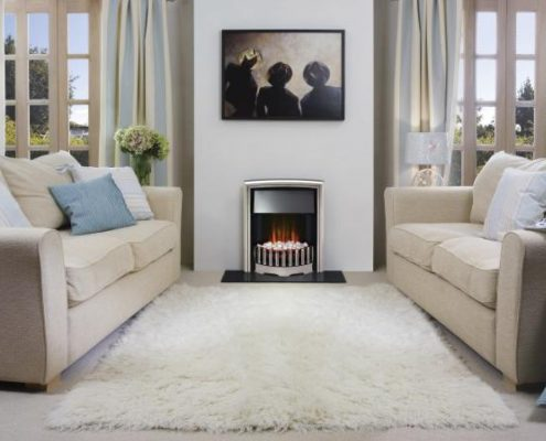 Dimplex Optiflame Rockport Hearth Mounted Electric Fire in Chrome