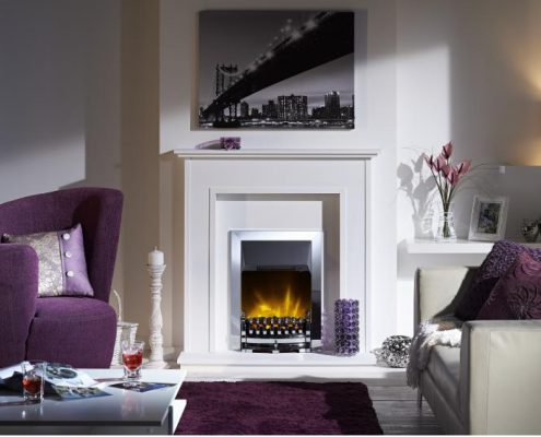 Dimplex Optiflame Stamford Hearth Mounted Electric Fire in Chrome