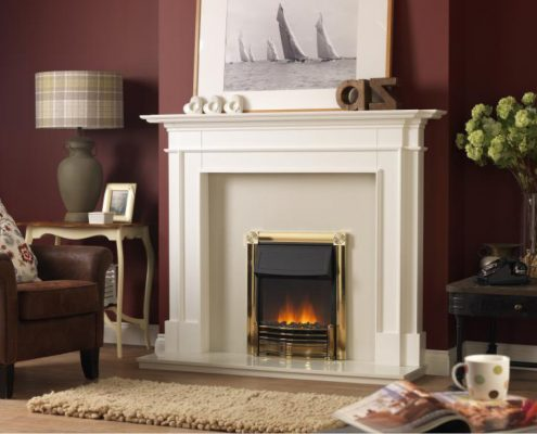 Dimplex Optiflame Horton Hearth Mounted Electric Fire in Brass