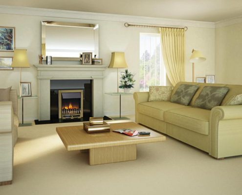 Dimplex Optiflame Wynford Hearth Mounted Electric Fire in Antique Brass