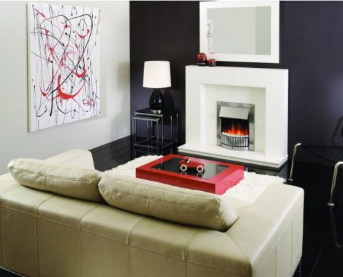 Dimplex Optiflame Delius Hearth Mounted Electric Fire in Chrome
