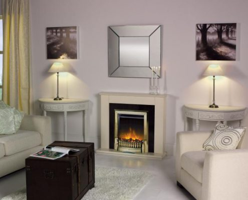 Dimplex Optiflame Exbury Hearth Mounted Electric Fire in Antique Brass