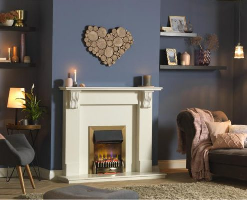 Dimplex Optiflame 3D Braemar Hearth Mounted Electric Fire in Brass