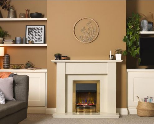 Dimplex Optiflame 3D Dumfries Hearth Mounted Electric Fire in Brass