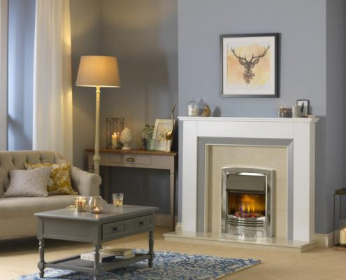 Dimplex Optiflame 3D Glencoe Hearth Mounted Electric Fire in Chrome