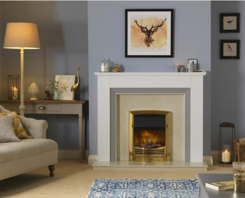 Dimplex Optiflame 3D Glencoe Hearth Mounted Electric Fire in Brass