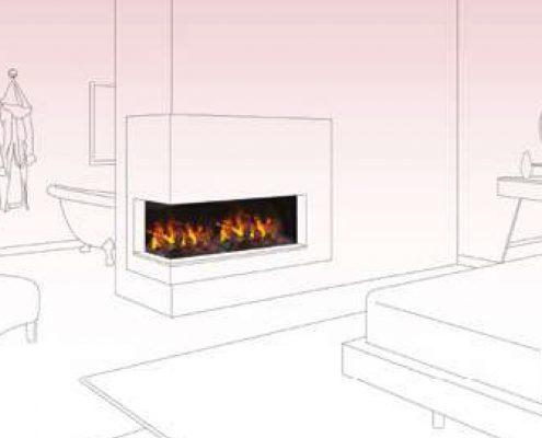Room divider in bedroom with ensuite - Dimplex Optimyst Bespoke