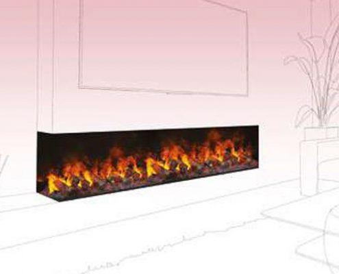 Feature fireplace underneath wall mounted TV - Dimplex Optimyst Bespoke