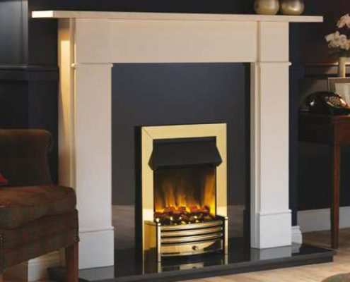 Dimplex Crestmore Optimyst Electric inset fire in Brass