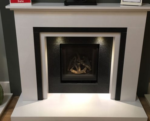 Helmsley Fireplace in Polar White Micro Marble with Legend Ethos Gas Fire