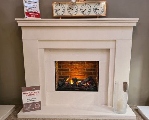 Perth Limestone Fireplace with Dimplex Optimyst Electric Fire