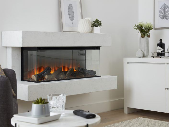 British Fires: New Forest Winchester electric fire - White Marble Effect
