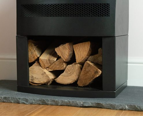 British Fires: New Forest Bramshaw electric stove - Log Storage