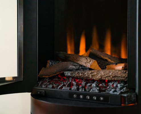 British Fires: New Forest Ashurst electric stove - Open & Shut Case
