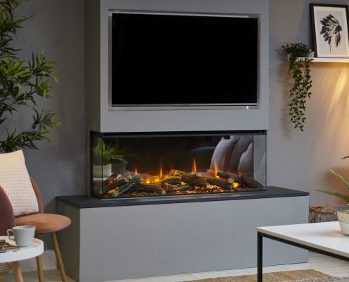 Media Wall with British Fires New Forest 1200 electric fire - 3 sided