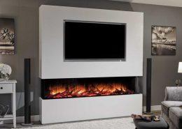 Media Wall with Flamerite Glazer 1800 electric fire